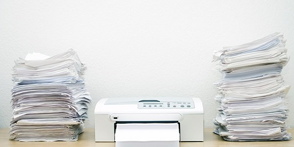 Scanner with stacks of paper